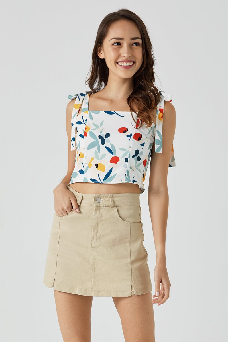 Esther Self Tie Floral Top Ivory