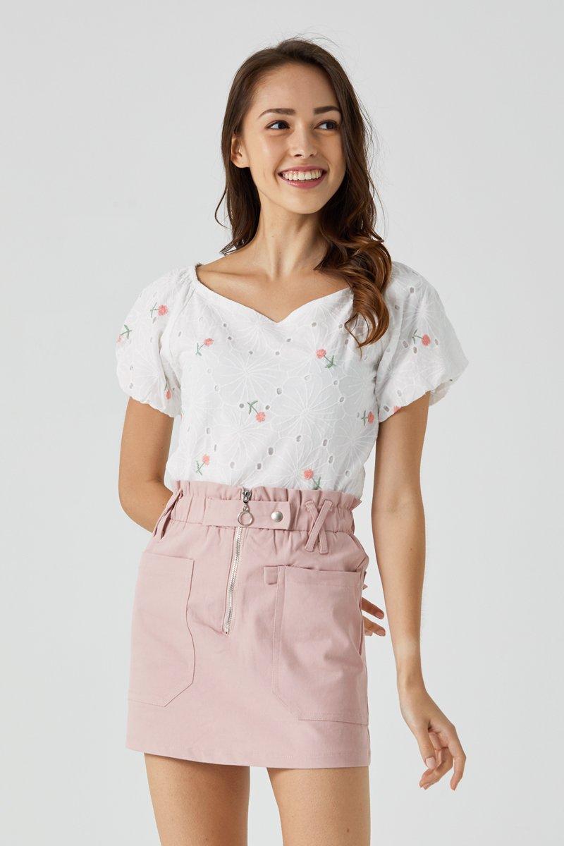 Edie Paperbag Skirt Blush