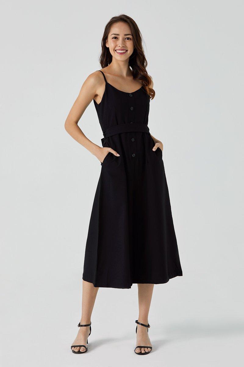 Thea Waist Ribbon Jumpsuit Black