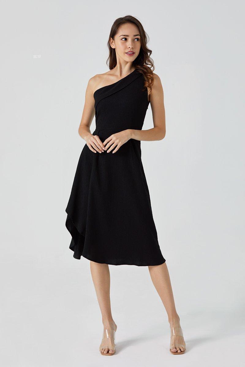 Felicia Toga Asymmetrical Dress Black