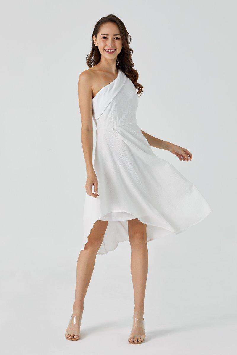 Felicia Toga Asymmetrical Dress Ivory