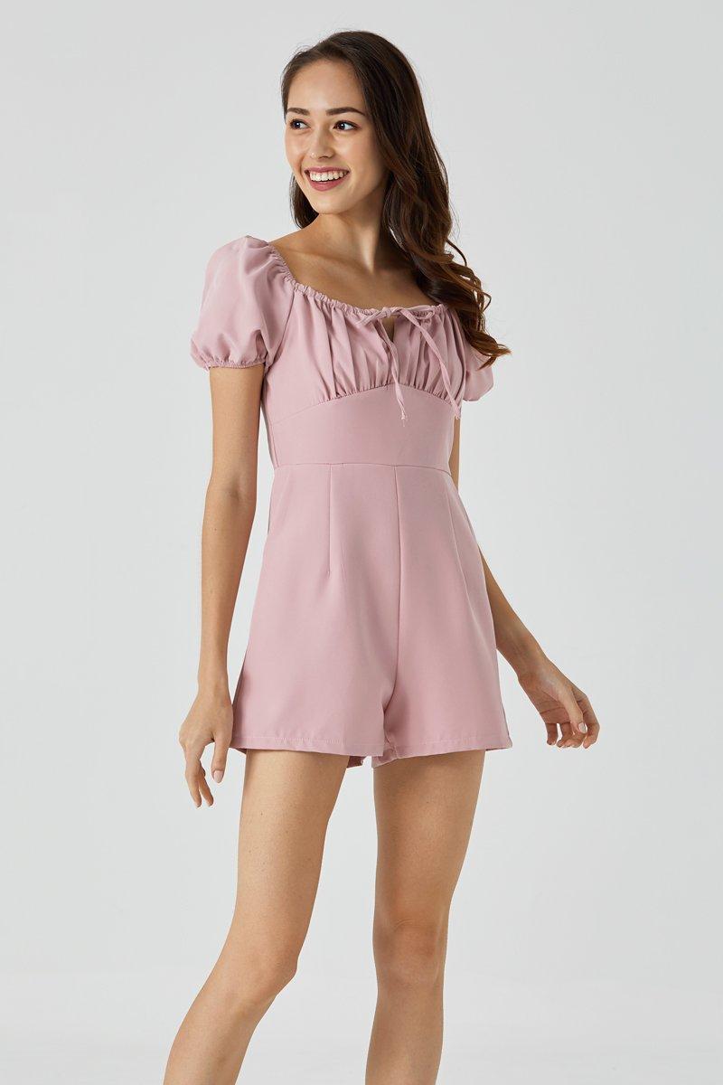 Rosabella Puff Sleeve Romper Blush