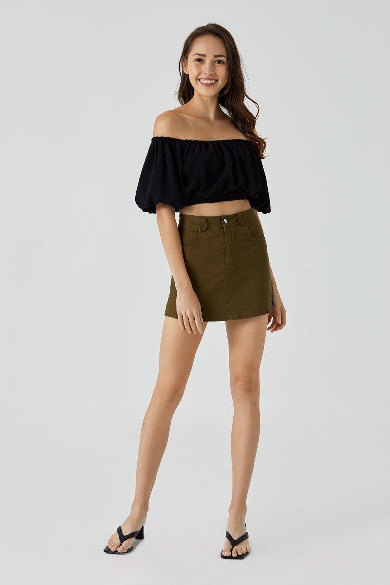Lori High-waist Double Slit Denim Skorts Olive