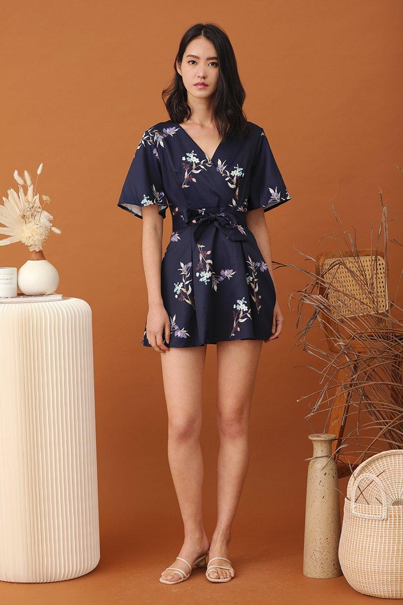 Halev Floral Pleated Dress Midnight