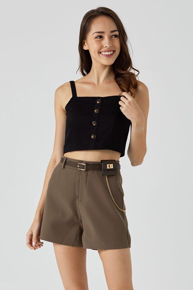 Tiara High Waisted Button Shorts Cocoa