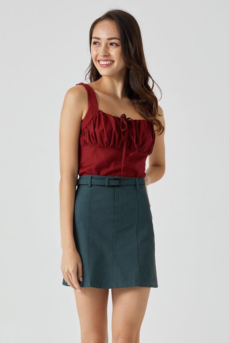 Lira A Line Leather Skirt Teal
