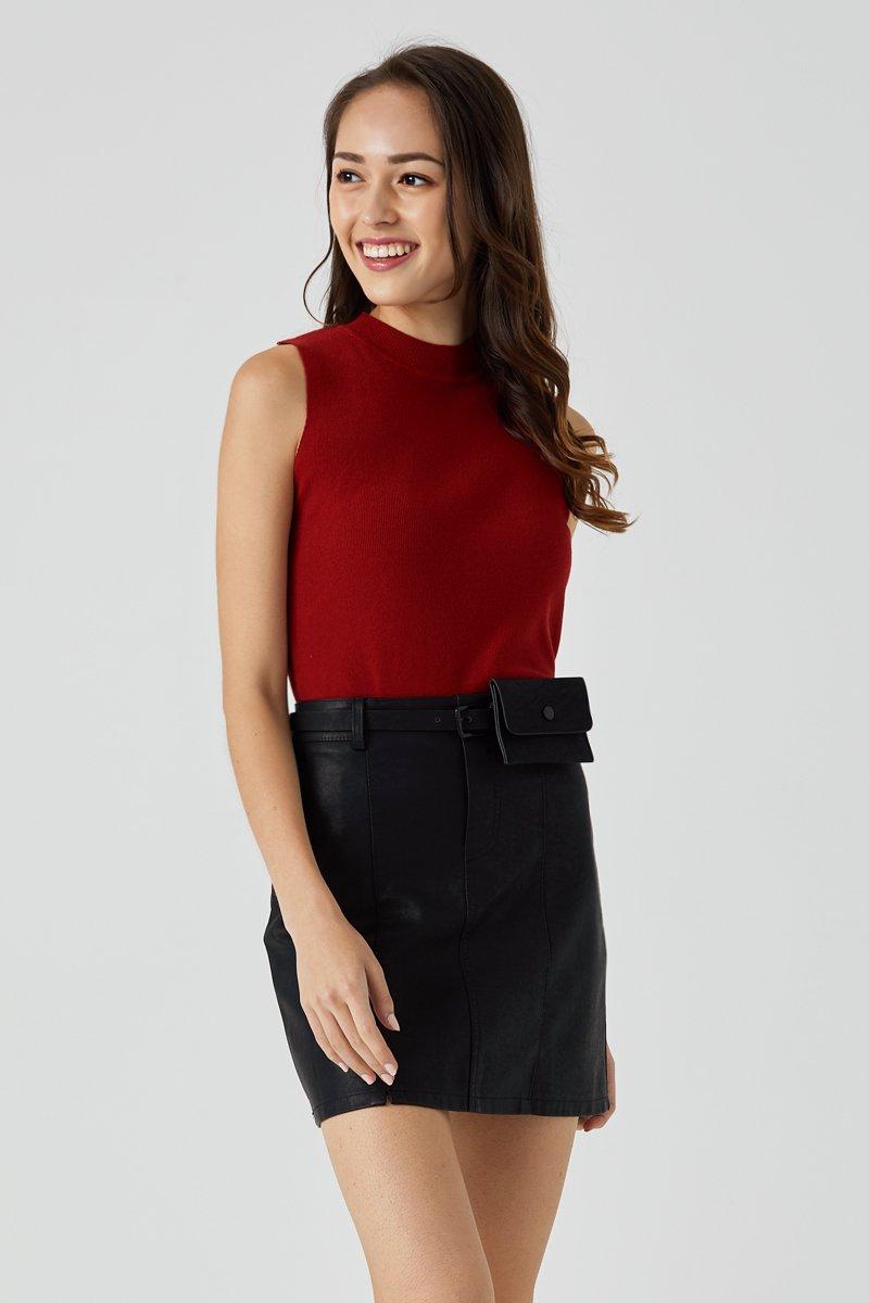 Lira A Line Leather Skirt Black