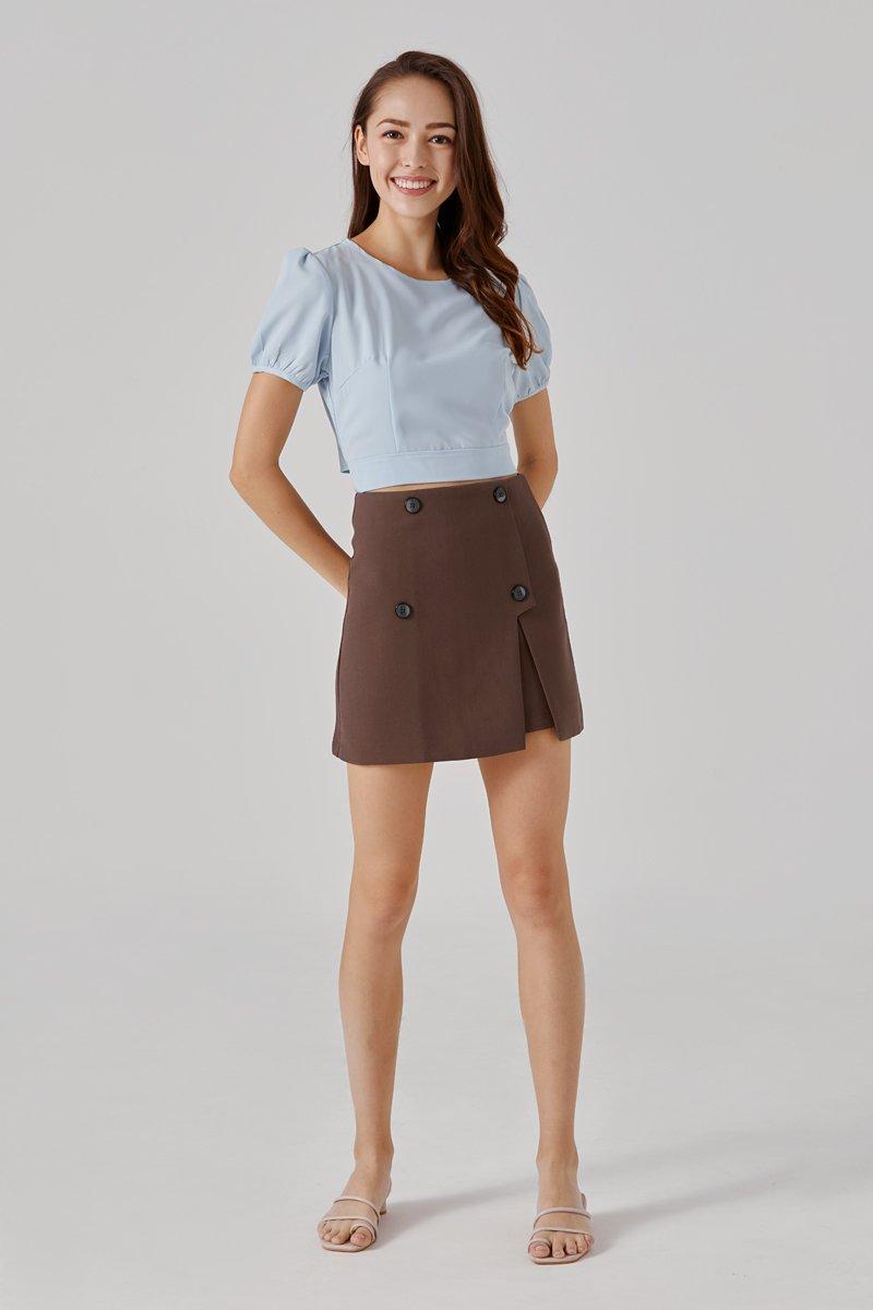 Nila Button Skirt Cocoa