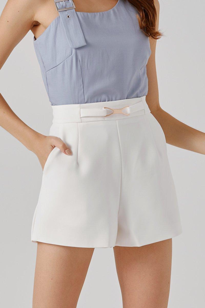 Josella Front Buckle Shorts Ivory