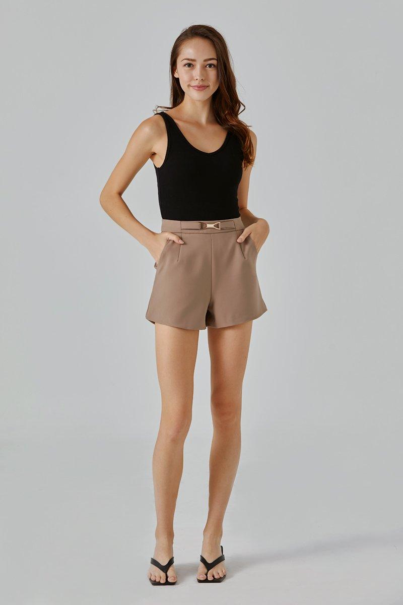 Josella Front Buckle Shorts Caramel