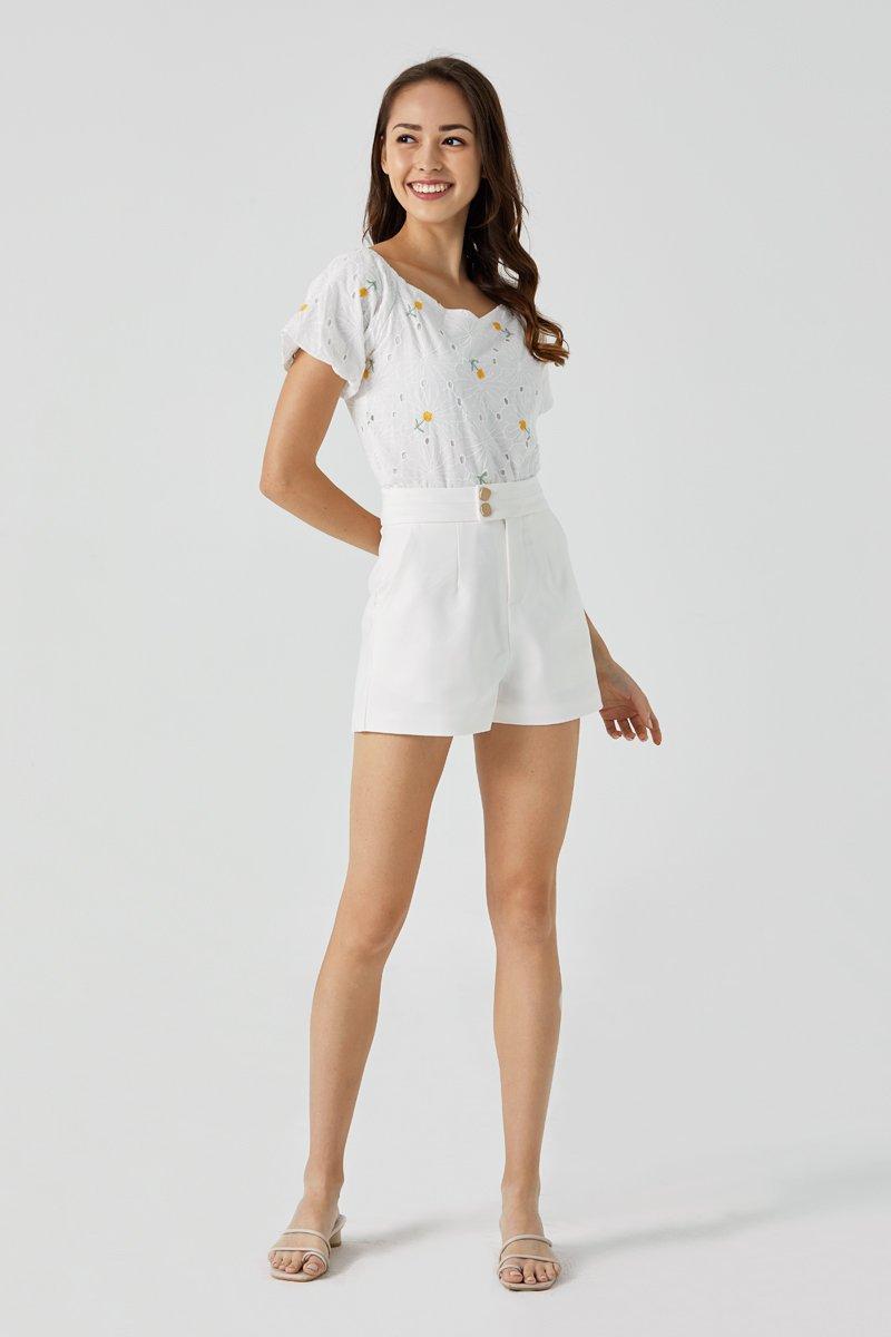 Lestia High Waist Button Shorts Ivory