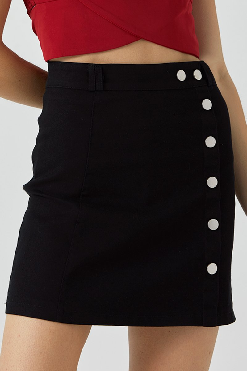 Rory Side Buttons Skirt Black