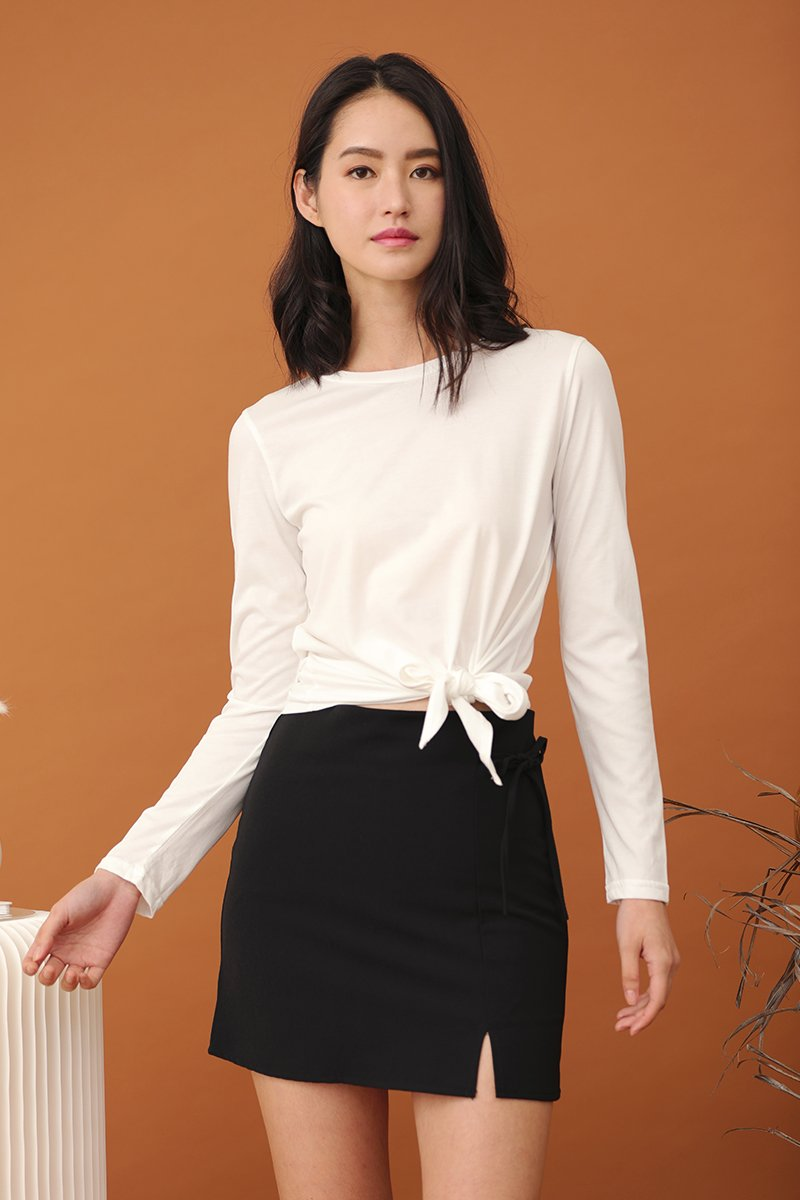 Gianna Tie Front Top Ivory