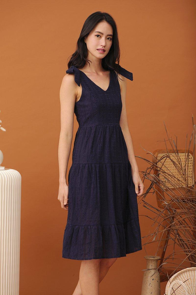 Gwenyth Floral Eyelet Midi Dress Midnight