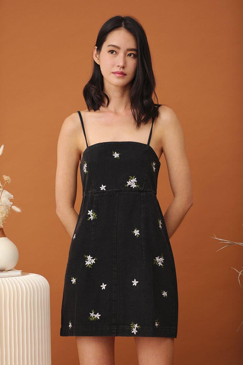 Zela Floral Denim Dress Black
