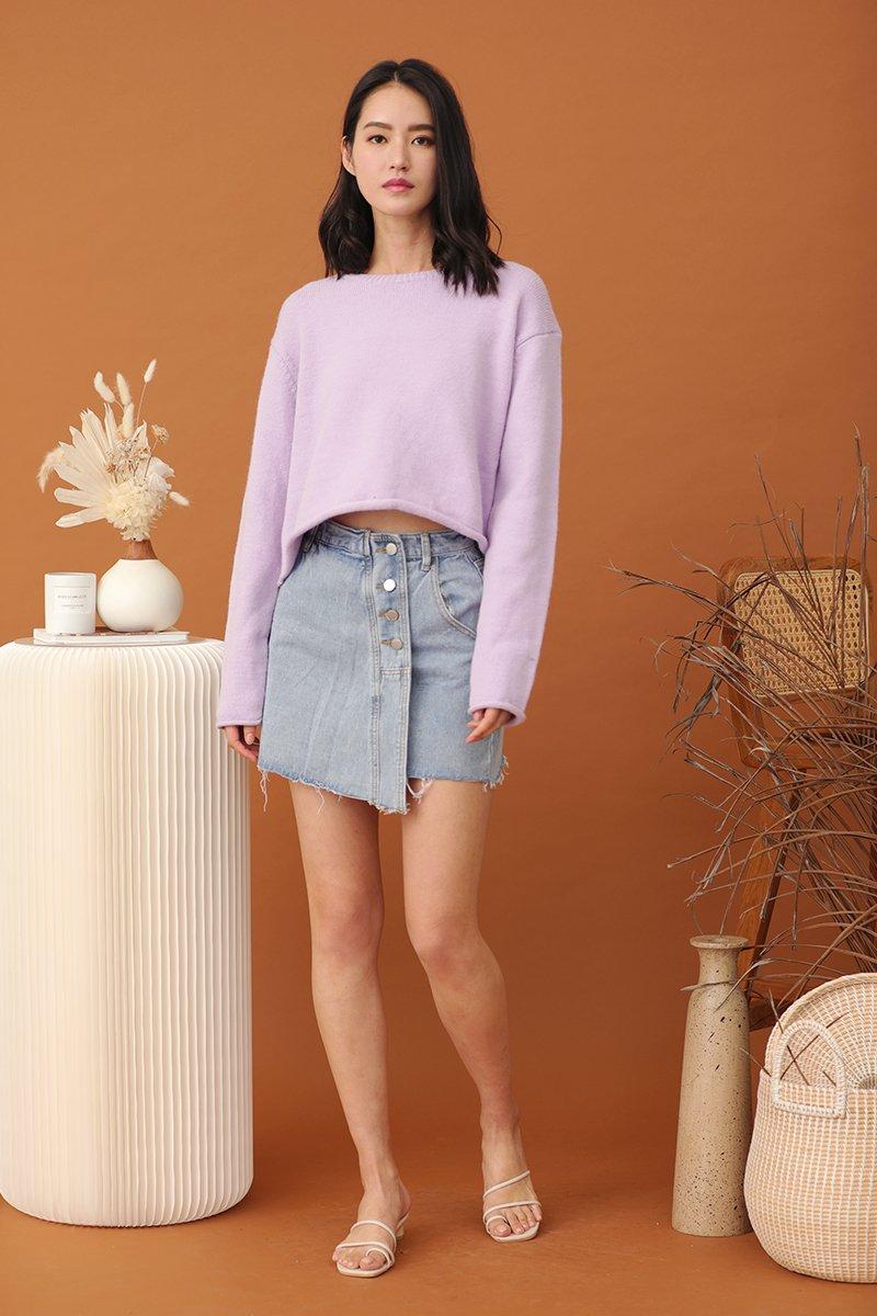 Zera Buttoned Denim Skirt Light Wash