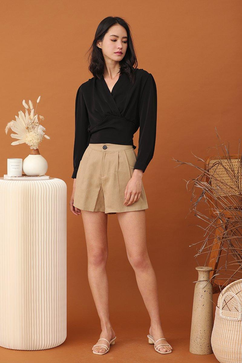 Gina Pleated Button Shorts  Khaki