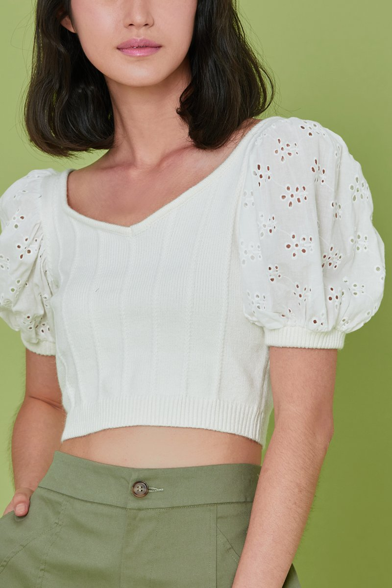 Reiko Puff Sleeve Knit Top Ivory
