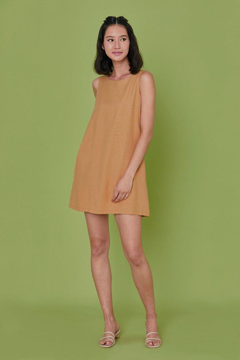Mabeline Linen Shift Dress Khaki