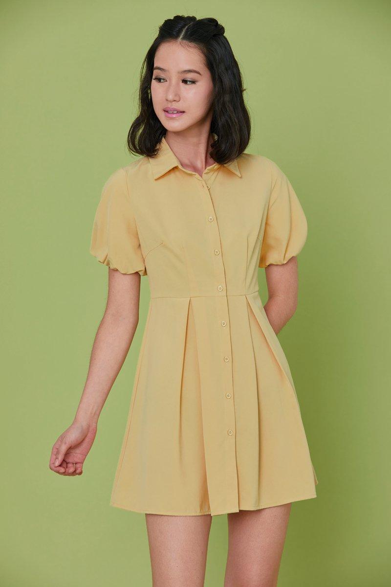 Jennie Puff Sleeve Button Dress Dandelion
