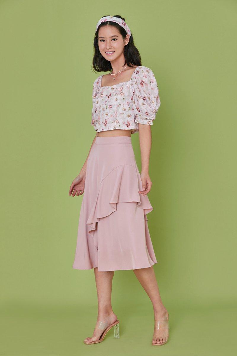 Joville Ruffle Overlay Skirt Blush