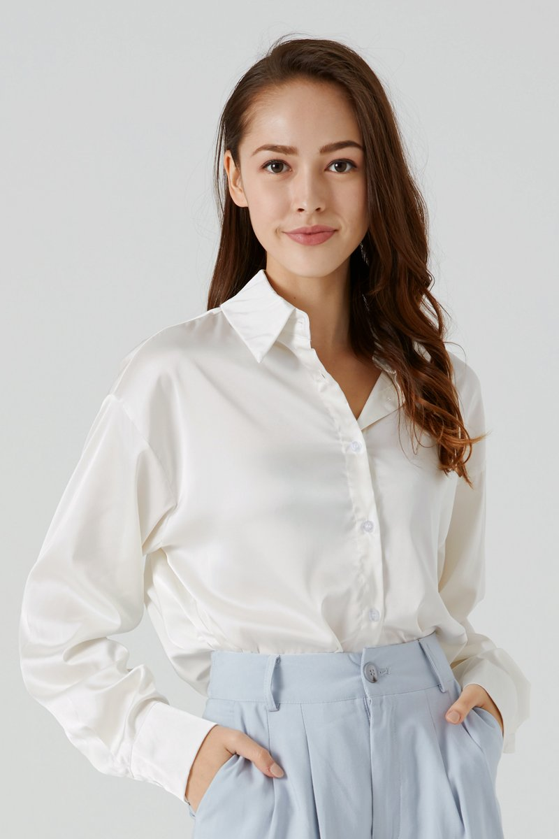 Elyn Satin Button-up Shirt Champagne