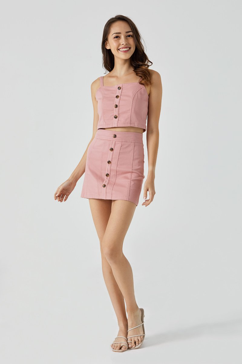 Andrey Turtle Shell Mini Skirt Blush