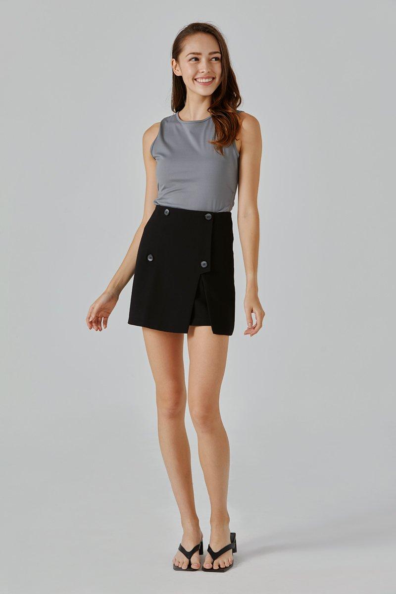 Nila Button Skirt Black