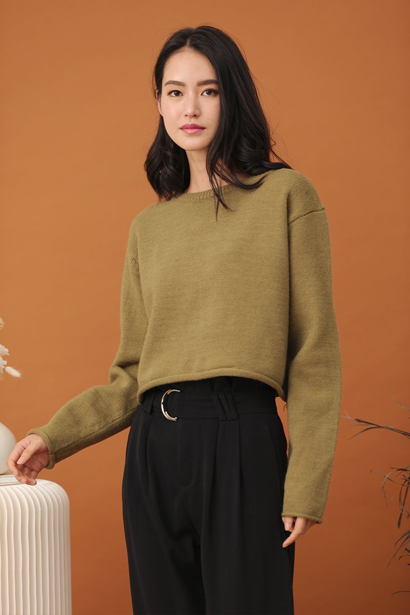 Aerie Knit Sweater Olive