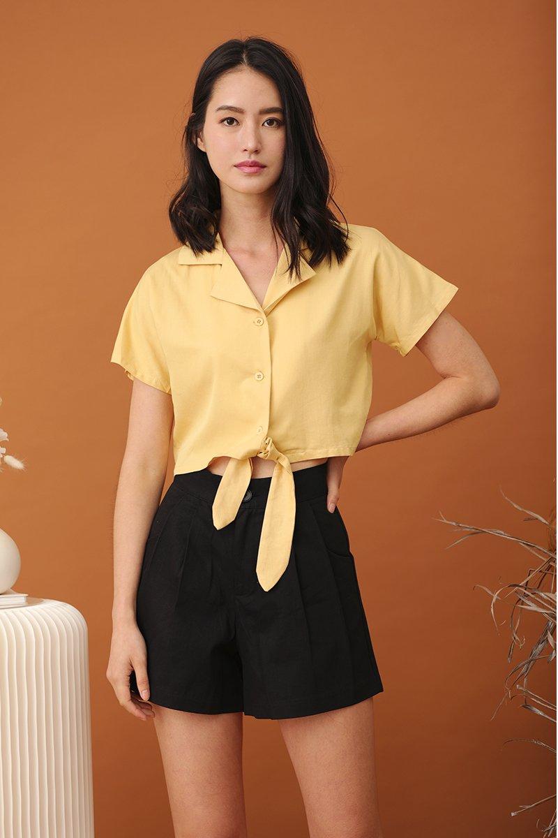 Jaynie Button Crop Top Daffodil