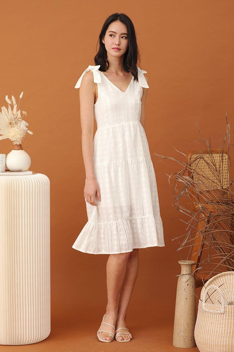Gwenyth Floral Eyelet Midi Dress Ivory
