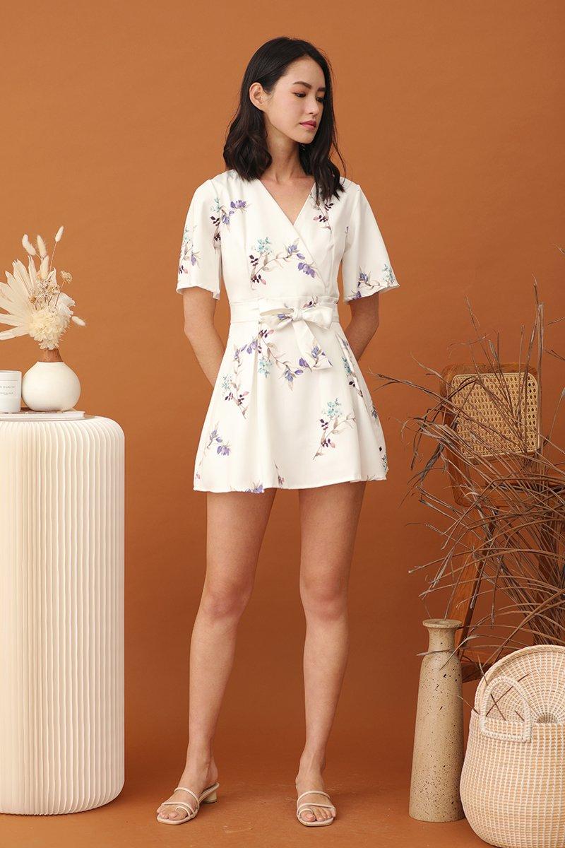 Halev Floral Pleated Dress Ivory