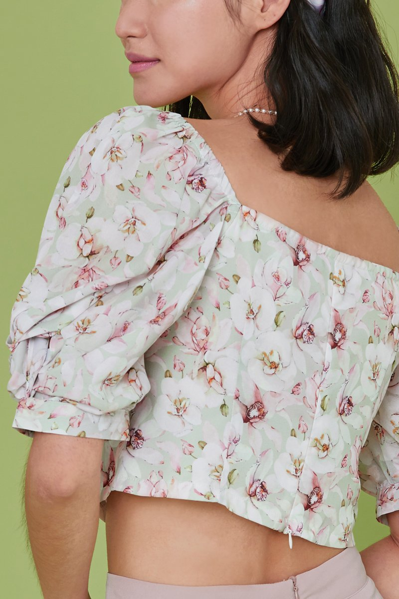 Rosella Floral Puff Sleeve Top Mint