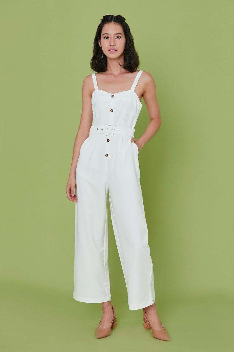 Zoia Button Jumpsuit Ivory