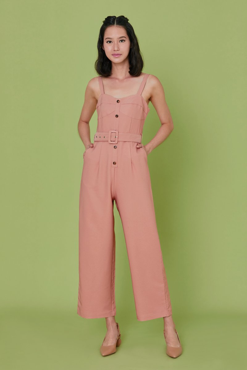 Zoia Button Jumpsuit Mauve