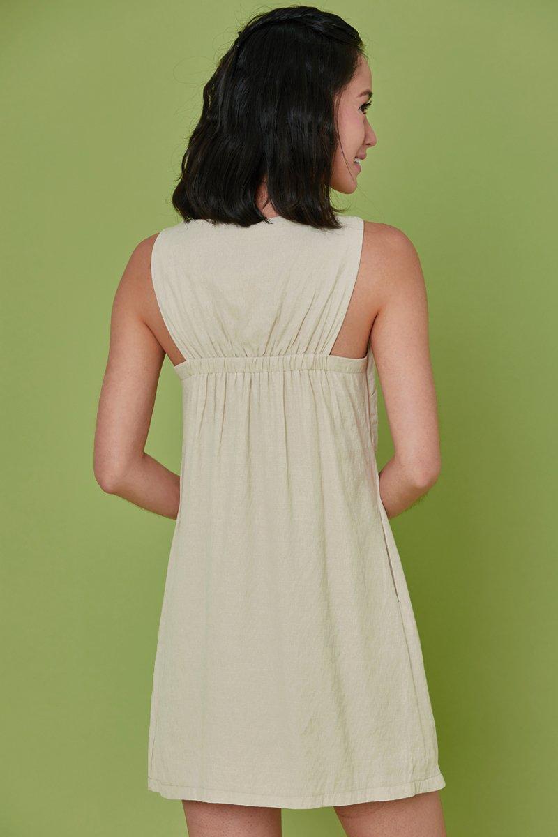 Mabeline Linen Shift Dress Cream