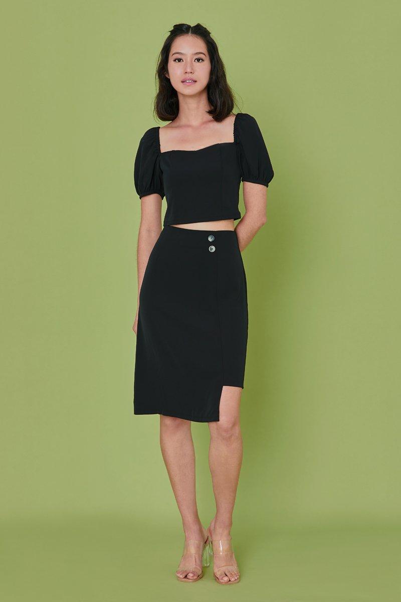 Hira Asymmetrical Skirt Black