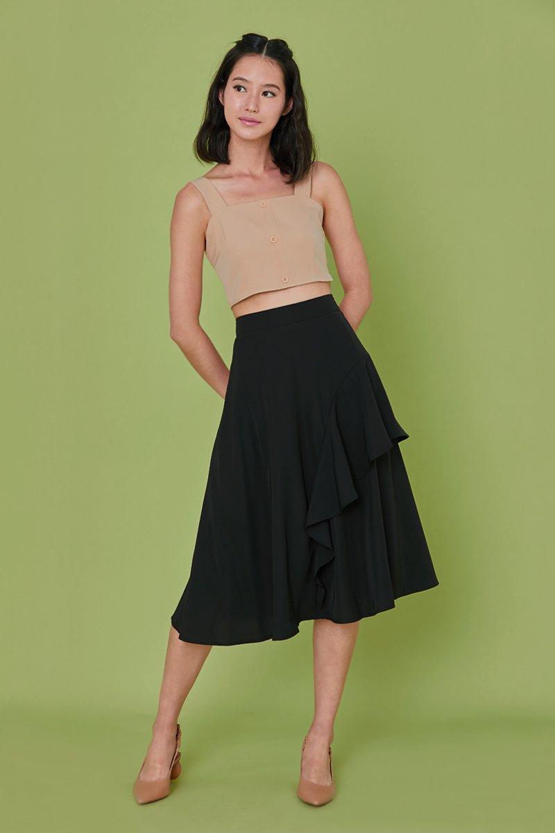 Joville Ruffle Overlay Skirt Black