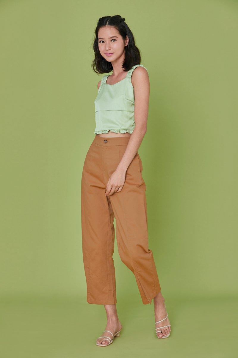 Dahlia High Waist Slit Pants Khaki
