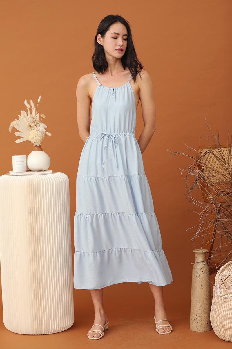 Anne Halter Neck Maxi Dress Sky