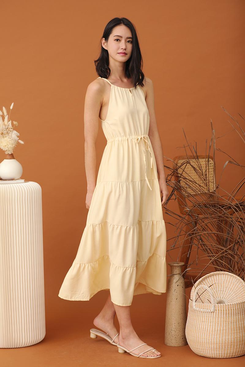 Anne Halter Neck Maxi Dress Daffodil