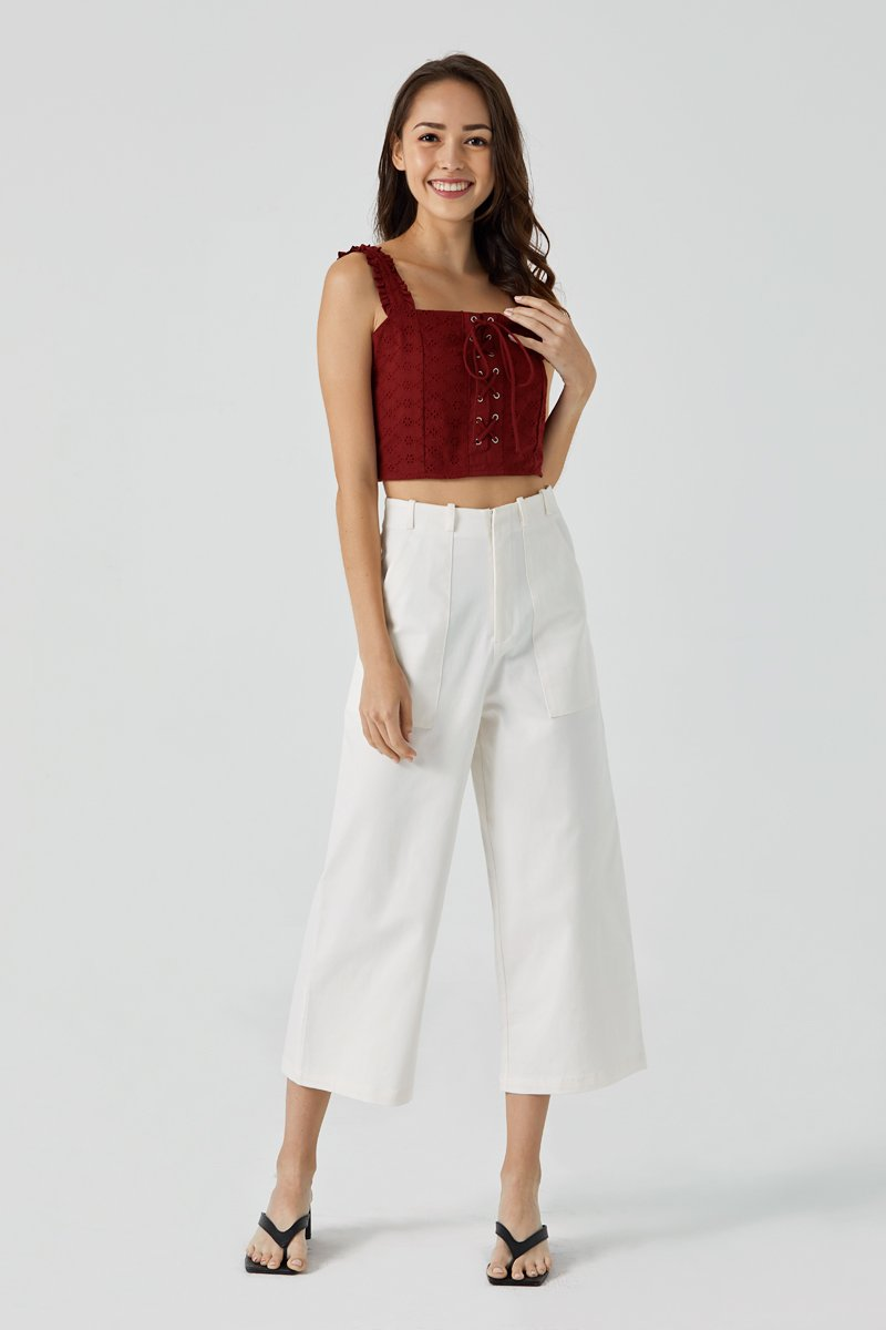 Nellie Eyelet Cami Top Maroon