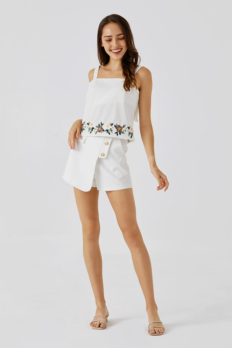 Vernice Embroidered Top Ivory