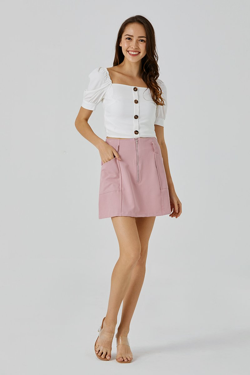 Shannon Puff Sleeve Top Ivory