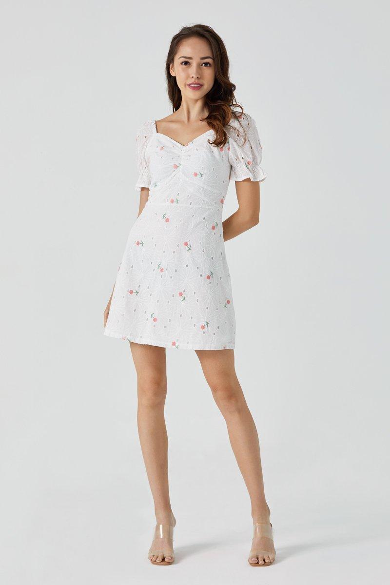 Tanya Floral Eyelet Dress Blush