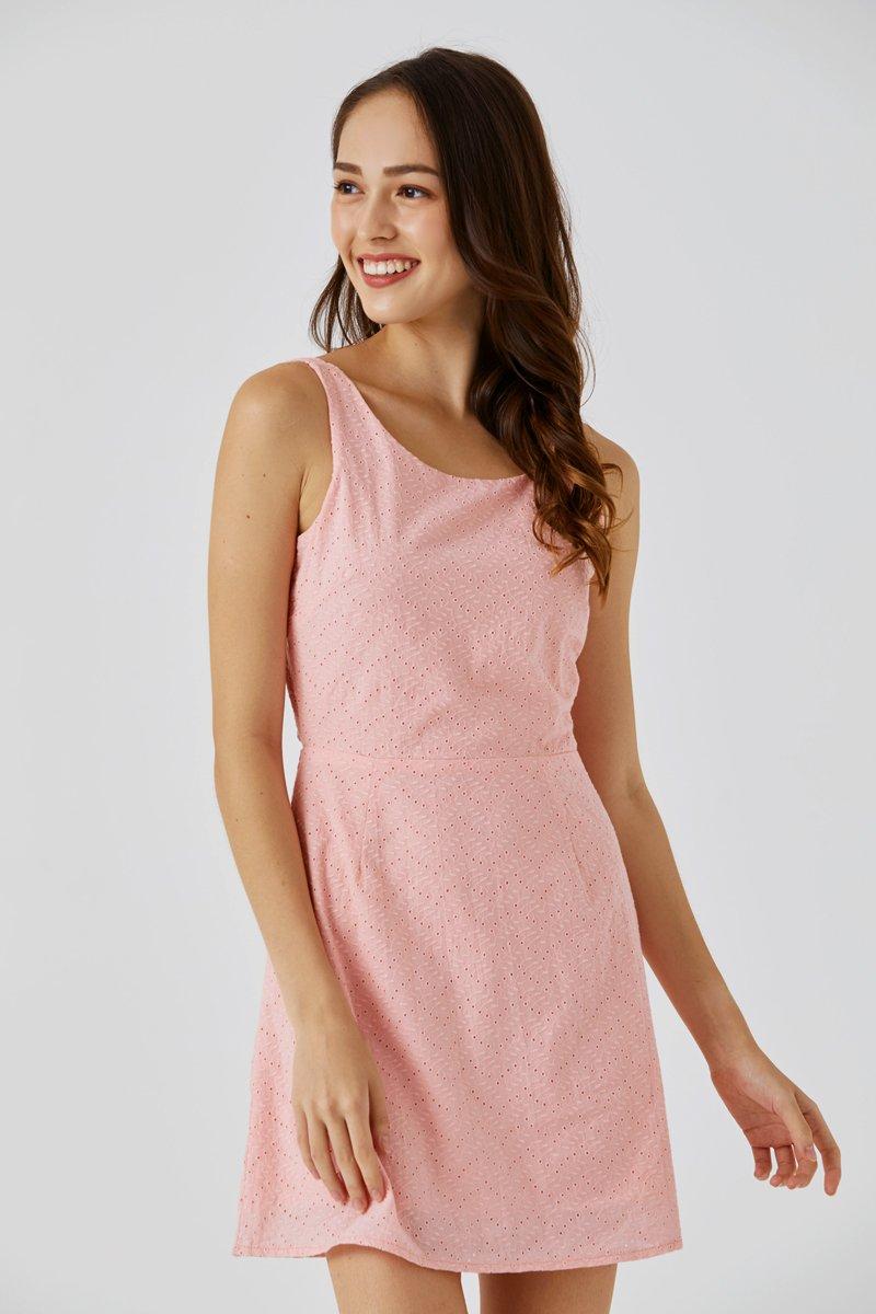 Camilia Eyelet Embroidery Dress Blush