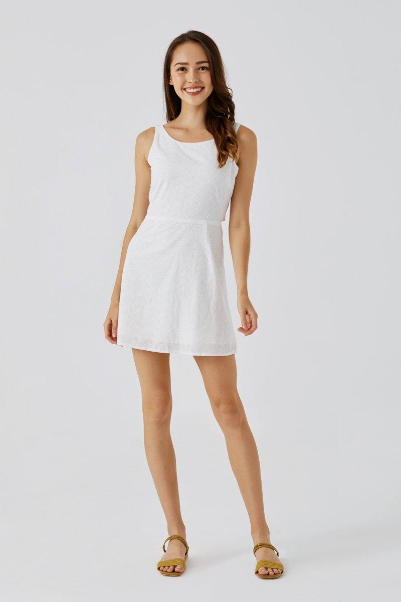 Camilia Eyelet Embroidery Dress Ivory