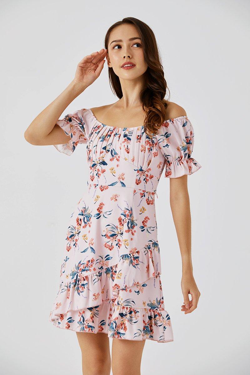 Anna Puff Sleeve Dress Blush