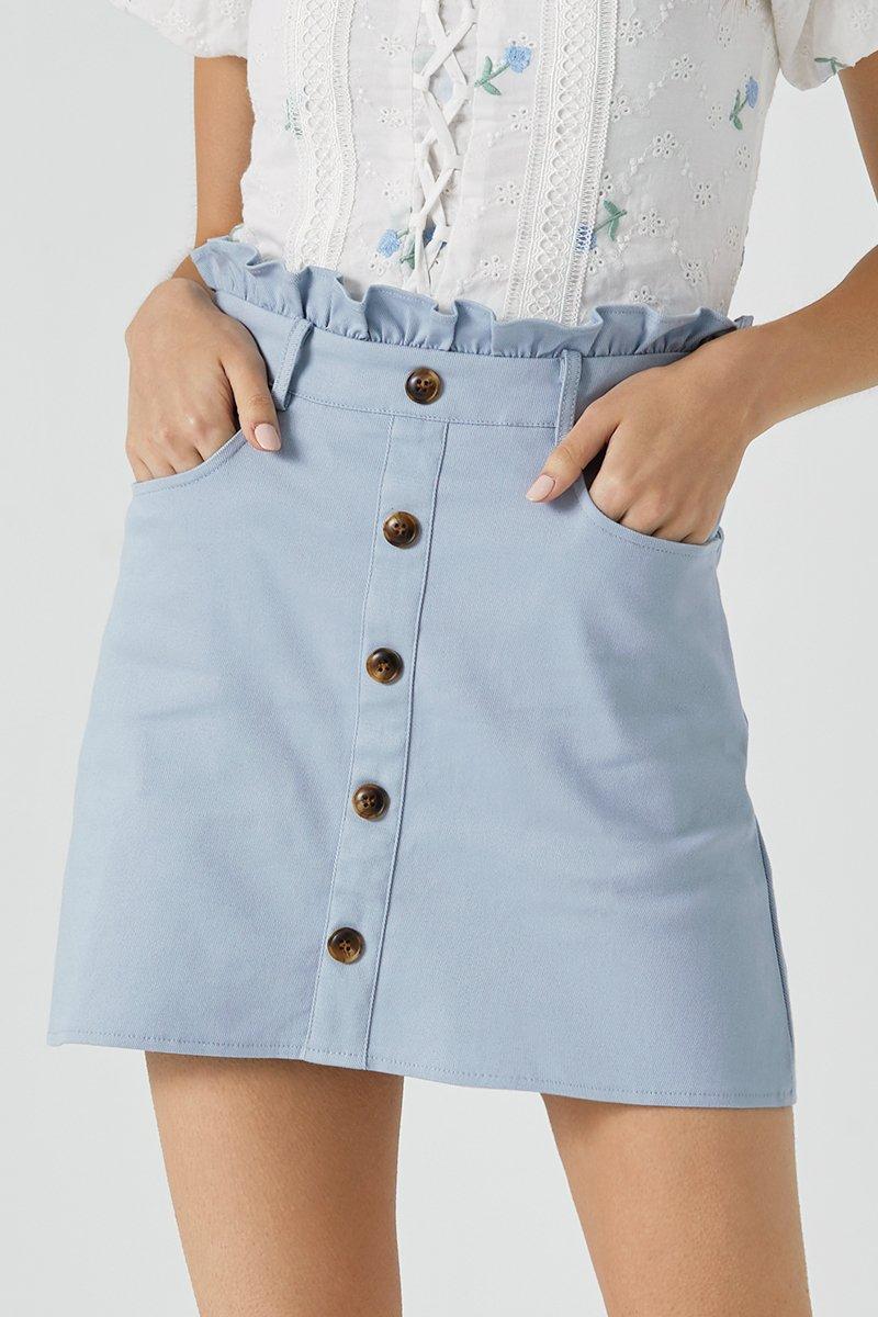 Kaylee Tortoise Shell Button Skirt Sky