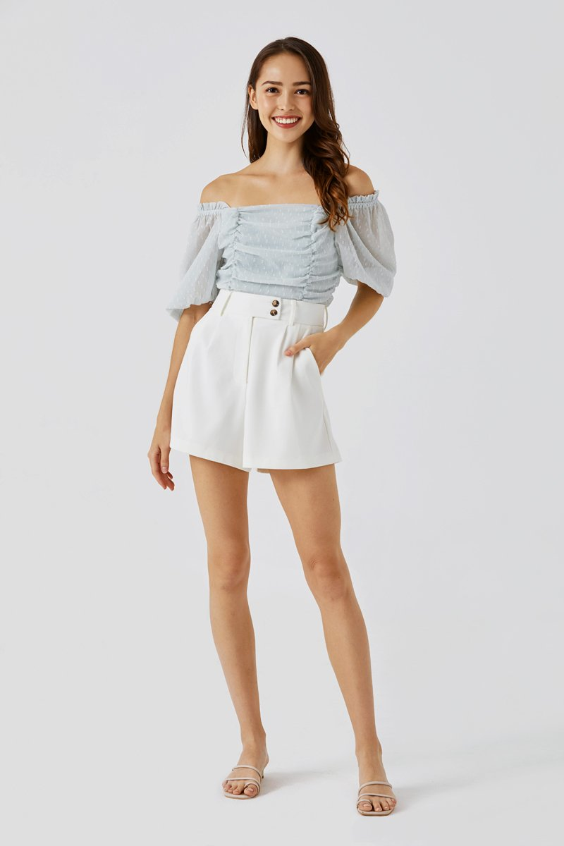 Callen Button Tailored Shorts Ivory